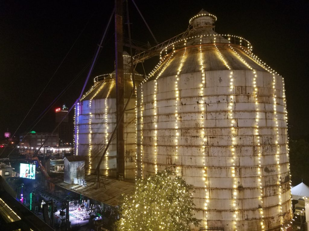 The Magnolia Silos Decorated for the Holidays